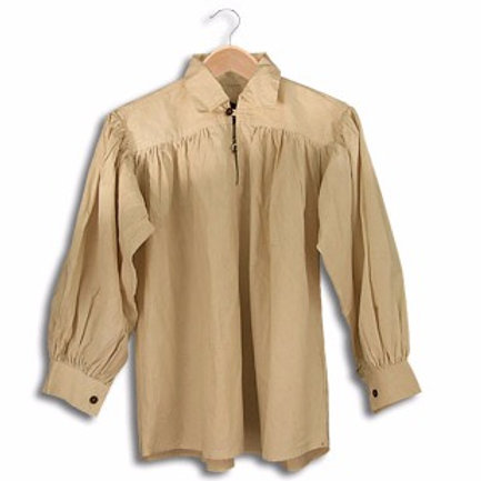 Natural Cotton Shirt with Buttoned Neck (GB3020)