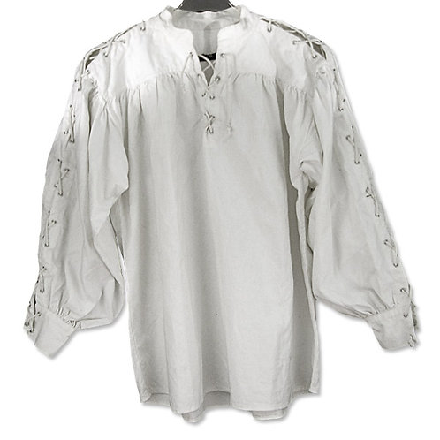 White Cotton Shirt with Laced Neck and Sleeves(GB3054)