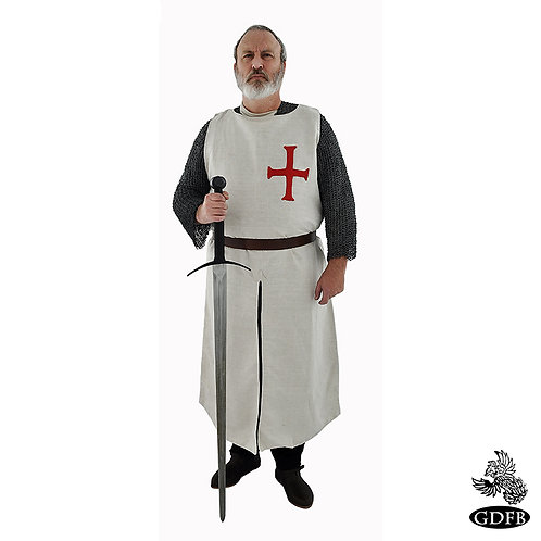 Templar Surcoat - Wool - Natural with Red Cross - GB0215