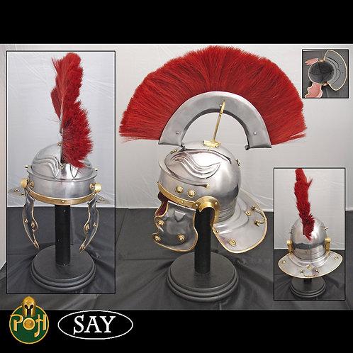 Roman Gallic Helmet with Red Crest - 18g - AB1747