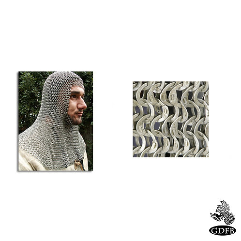 Coif - Square Faced - Full Mantle - Chainmail - Code 1