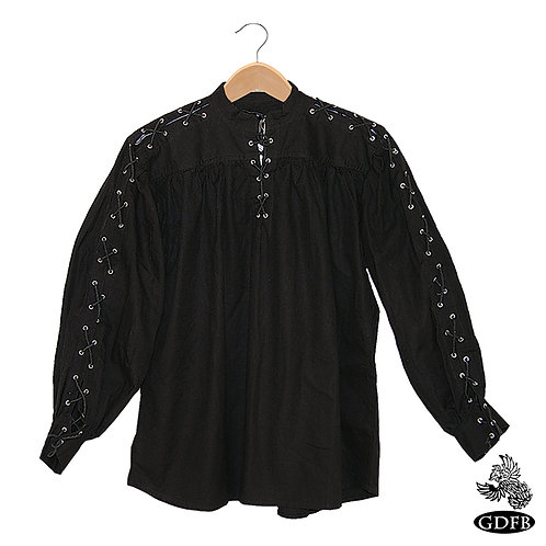 Natural Cotton Shirt with Laced Neck and Sleeves(GB3049)