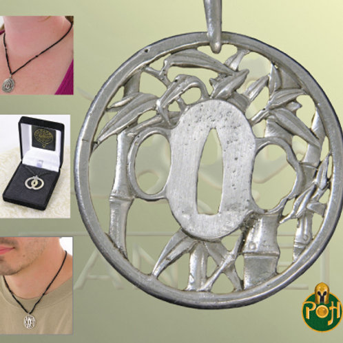 Winter Bamboo Tsuba Pendant (Solid Silver) - OH3033