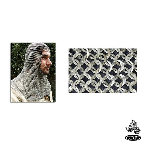 Coif - Square Faced - Full Mantle - Chainmail - Count Grade - Code 2 - AB2550