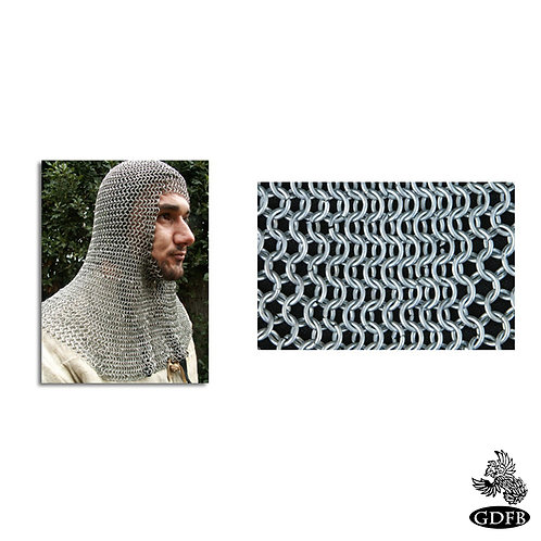 Coif - Square Faced - Full Mantle - Chainmail - Page Grade - Code 10 - AB2562