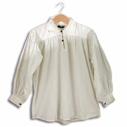 White Cotton Shirt with Buttoned Neck (GB3028)