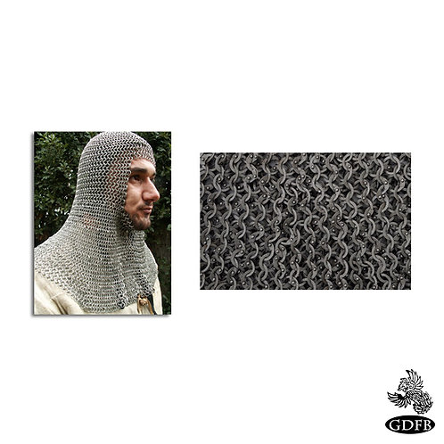 Coif - Square Faced - Full Mantle - Chainmail - Earl Grade - Code 4 - AB2552