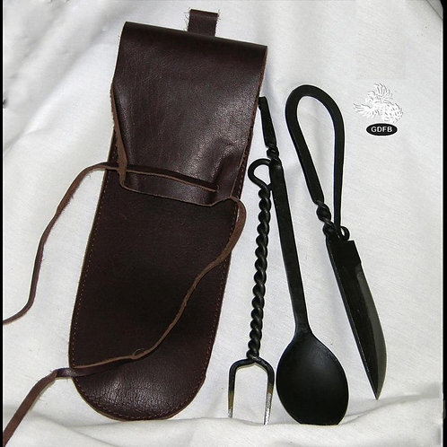 Knife Fork and Spoon Cutlery Set with Leather Pouch - OB3350