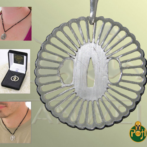 Practical Plus Wheel Tsuba Pendant (Solid Silver) - OH3034