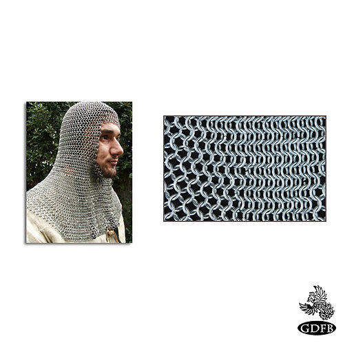 Coif - Square Faced - Full Mantle - Chainmail - Infantry Grade - Code b - AB2547