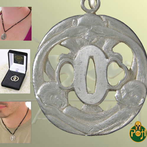 Three Monkey Tsuba Pendant (Solid Silver) - OH3035