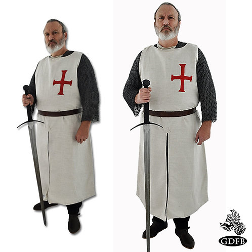 Templar Surcoat - Natural with Red Cross - GB3130