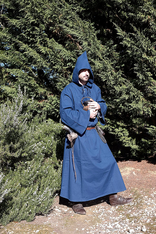 Medieval Hooded Cloak - Cotton - Blue - GB4024