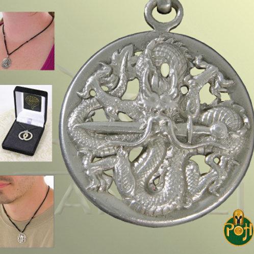 Dragon Tsuba Pendant (Solid Silver) - OH3037