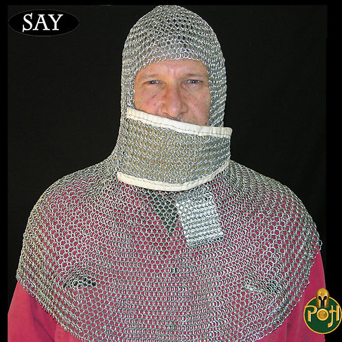 Coif - Right to Left Ventail - Chainmail - Page Grade - Code 10 - AB2749