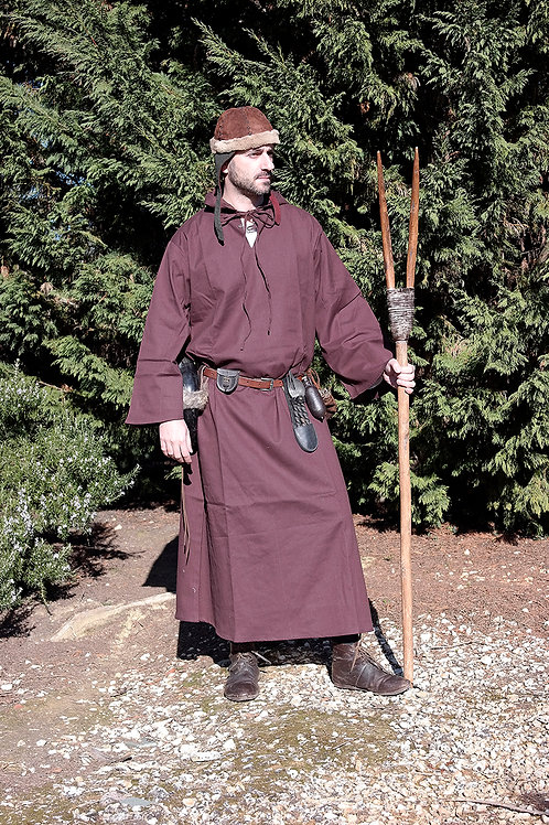 Medieval Hooded Cloak - Cotton - Brown - GB4016