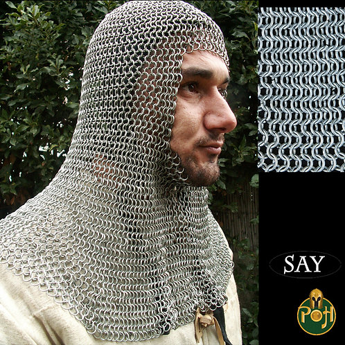 Coif - Square Faced - Full Mantle - Chainmail - Code 16