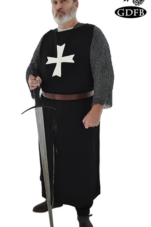 Hospitaler Wool Surcoat - Black and White Cross - GB0240