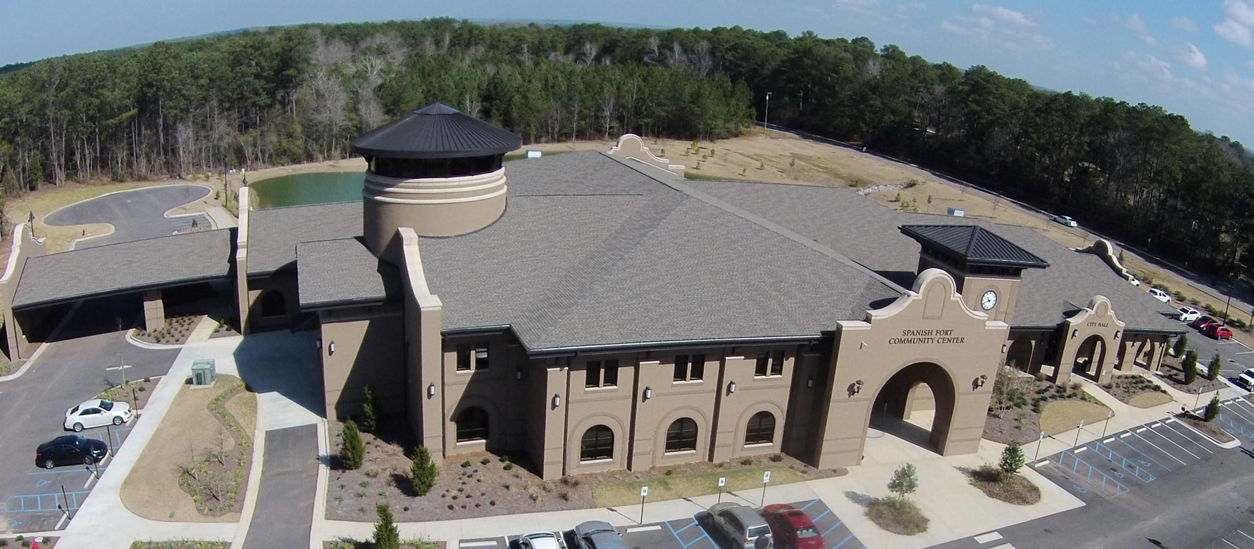 aerial shot of spanish fort community center