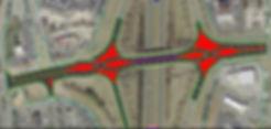 Diverging diamond interchange sketch