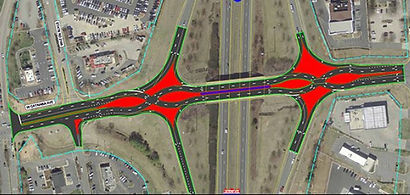 Diverging diamond interchange sketch