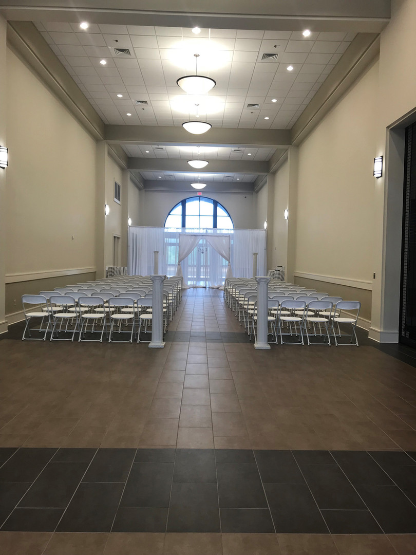 hallway of spanish fort community center set up for  a wedding