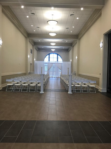 hallway of spanish fort community center set up for  a wedding