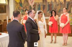 Wedding bride looking at the groom