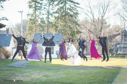 Wedding couple jumping