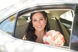 Wedding bride inside the car