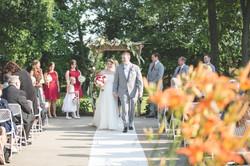 Wedding bride walking down the aisle