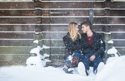 Engagement couple embracing