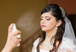 Wedding bride getting her makeup...