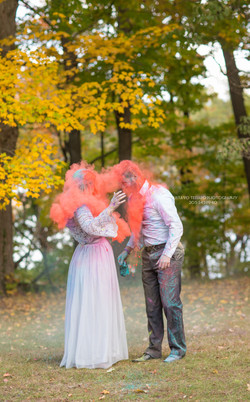 Newlyweds trash the dress wedding