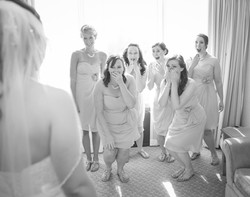 Wedding bridesmaids looking surprise