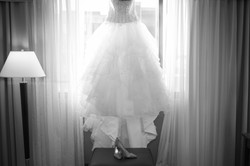 Wedding bride looking out the window
