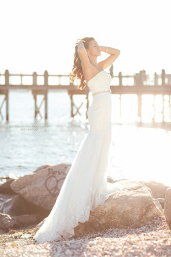 Bride on the beach trash the dress