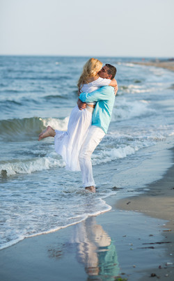 Engagement couple hugging...