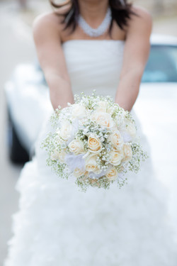 Wedding bride holding a bouquet