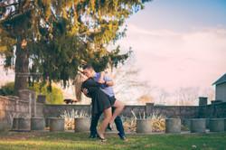 Engagement couple kissing