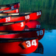 red_lake_canada_reflection_boats_colorfu