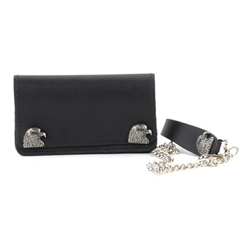 Leather - Lambskin Chain Wallet with Eagle Snaps