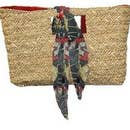 Straw Bag - Square Bucket Lined (Red or Green)