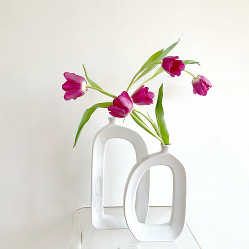 Yin/Yang Vase Arrangement with tulips (sold as a pair) can ship vases
