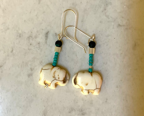 Liz's Turquoise Elephant Earrings