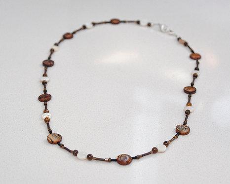 Tigereye Lanayrd with glass and shell beads