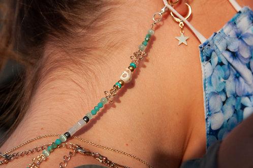 "Skull & Opalite Turquoise Lanyard (shown 18"")"
