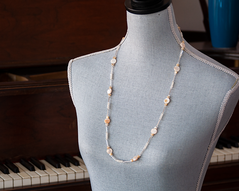 "30"" Pearl Shell and Bugle Bead Lanyard/Necklace"