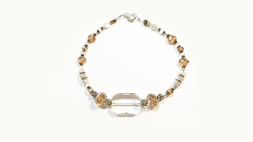 Bridal &  Wedding Portrait Necklace Amber/Crystal