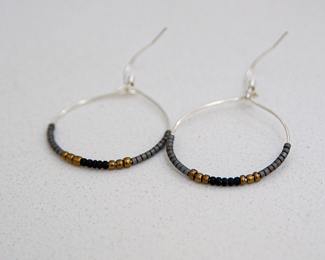 Charcoal, Black & Bronze Tiny Bead Earrings